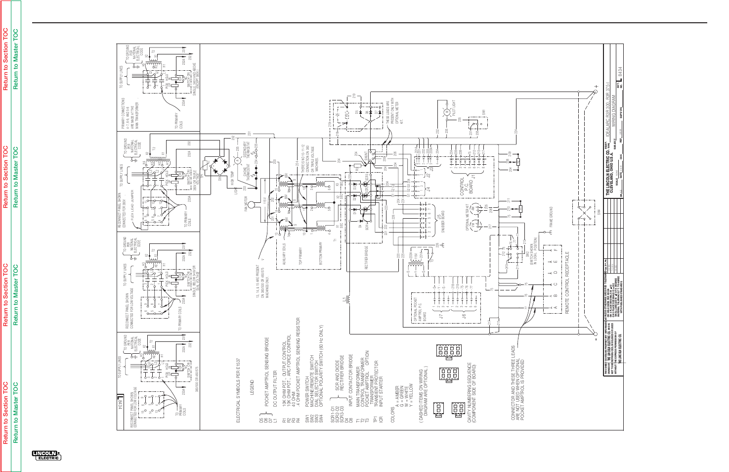 Electrical diagrams, Wiring diagram-r3r-300 | Lincoln Electric IDEALARC  R3R-500