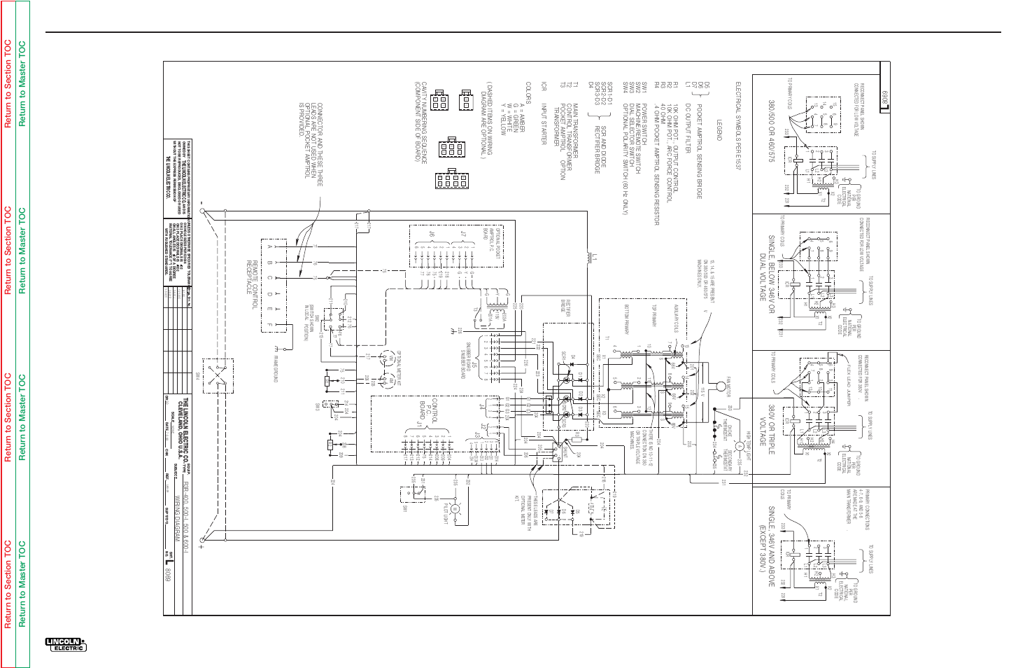 Electrical Diagrams Lincoln Electric Idealarc R3r 500 User Manual 225 S Wiring Diagram Page 102 108