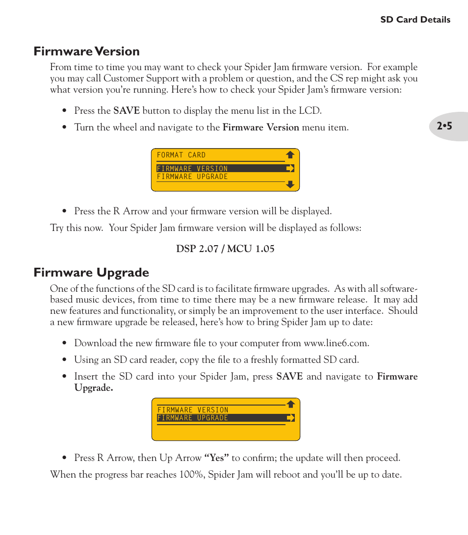 Firmware version, Firmware upgrade | Line 6 Spider Jam Amp User