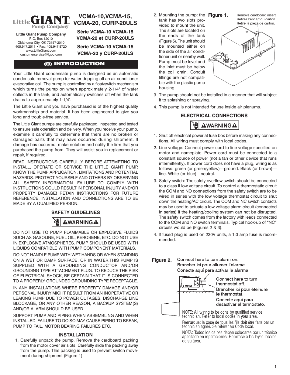 Little Giant Ladder Curp 20uls User Manual 8 Pages Also For Ac Condensate Pump Wiring Diagram Vcma 20 10 15