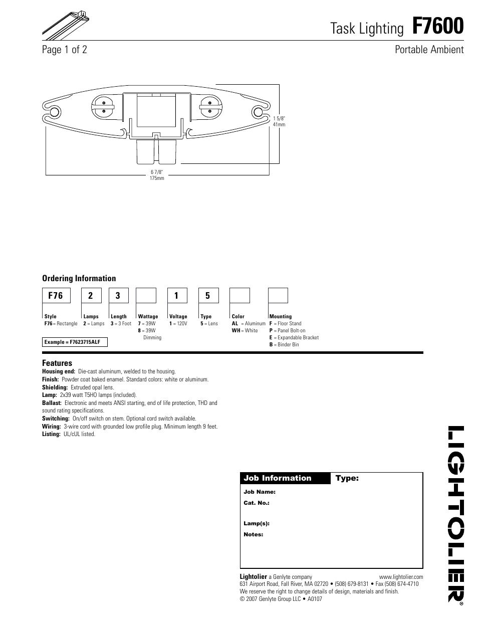 lightolier task lighting f7600 user manual 2 pages rh manualsdir com