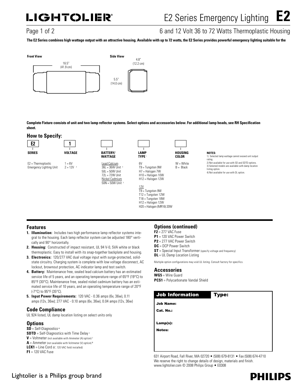 Lightolier Emergency Lighting E2 Series User Manual 2 Pages