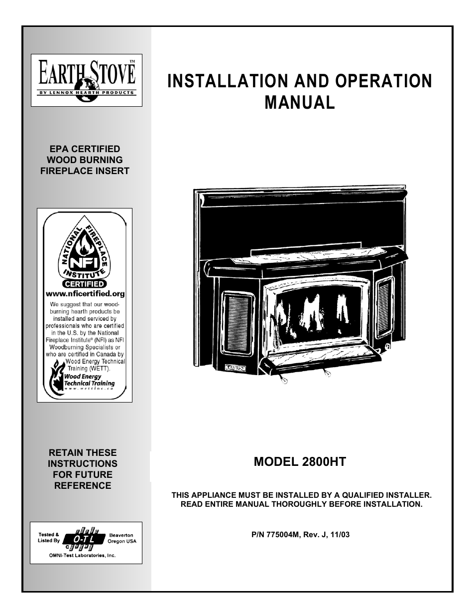 Lg Earth Stove 2800ht User Manual