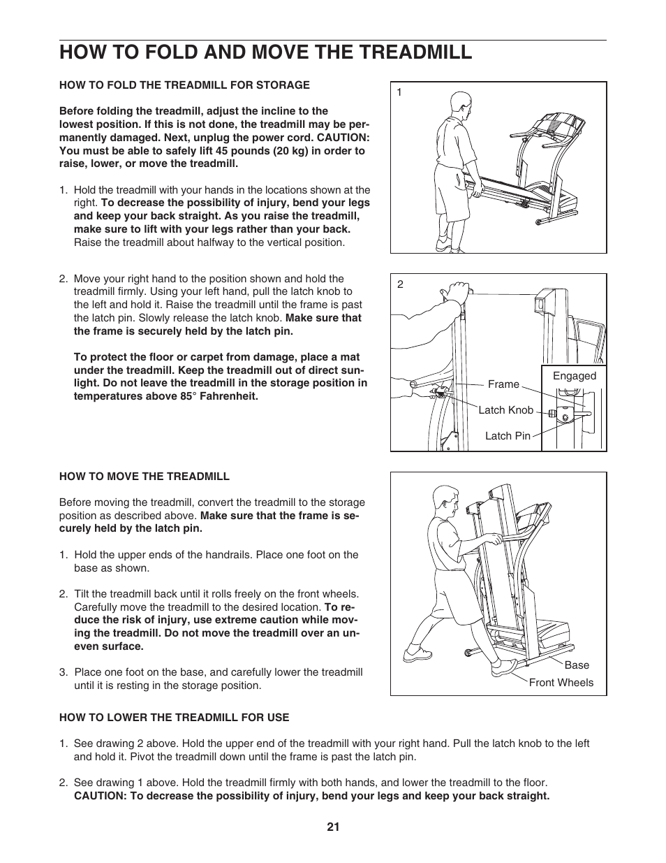 How to fold and move the treadmill | ProForm 580X 831 293063 User