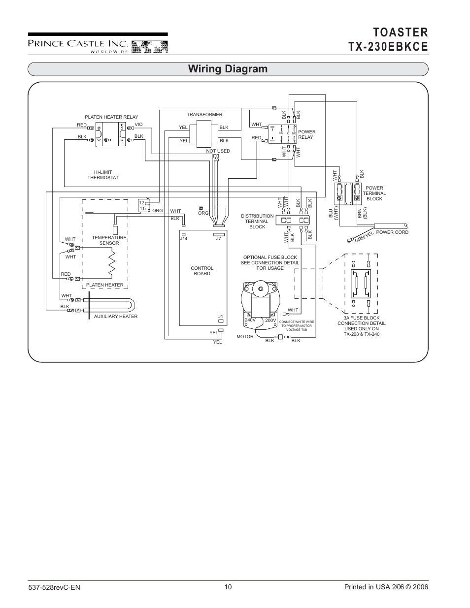 Toaster tx230 ebkce     Wiring       diagram      Prince Castle TX