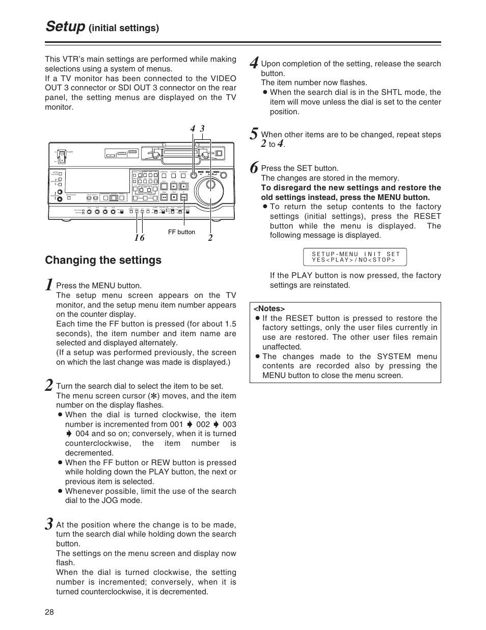 Setup, Changing the settings, Initial settings) | Panasonic AJ