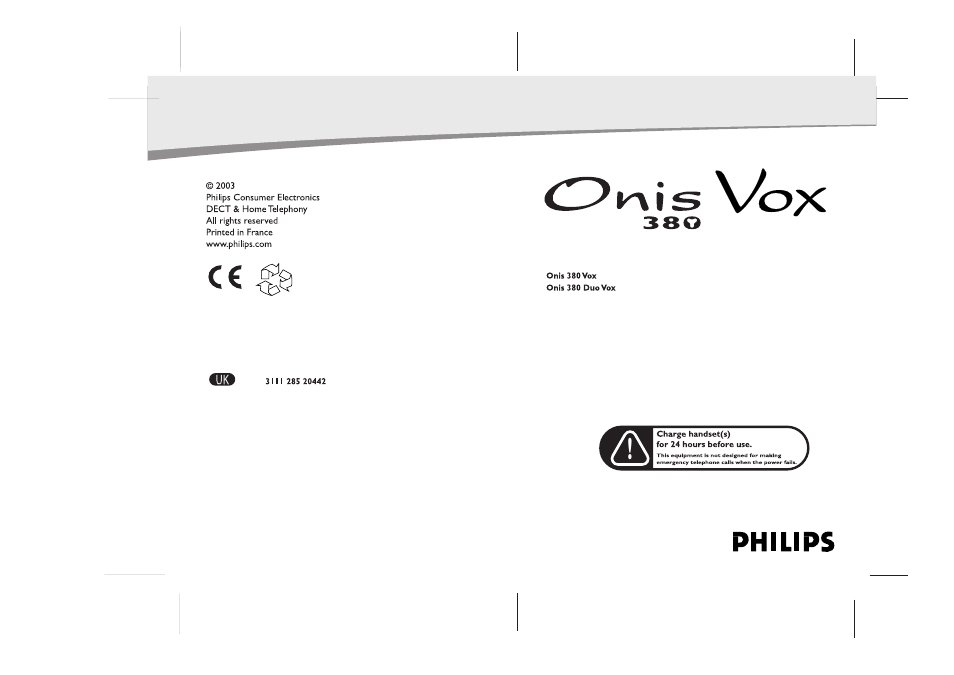 philips onis 380 vox user manual 48 pages also for 380 duo vox rh manualsdir com