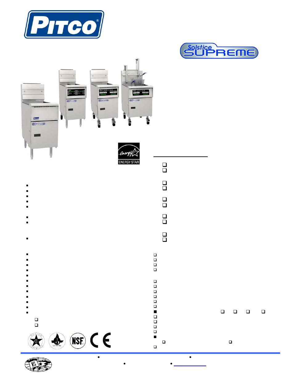 Pitco Frialator Solstice Supreme Ssh55t User Manual 2