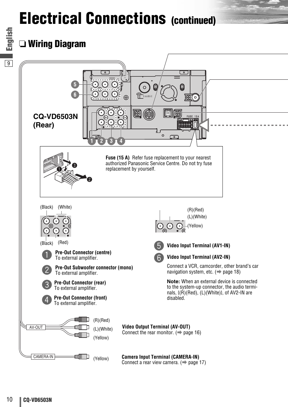 Electrical Connections  Continued   Wiring Diagram