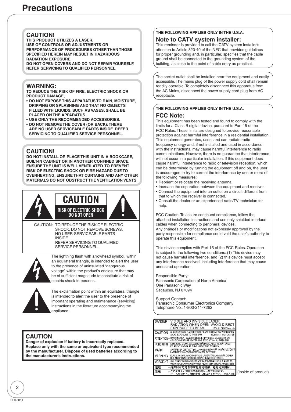 getting started precautions caution panasonic diga dmr ez27 user rh manualsdir com American Manufacturer of Batteries Logo American Battery Company Logos