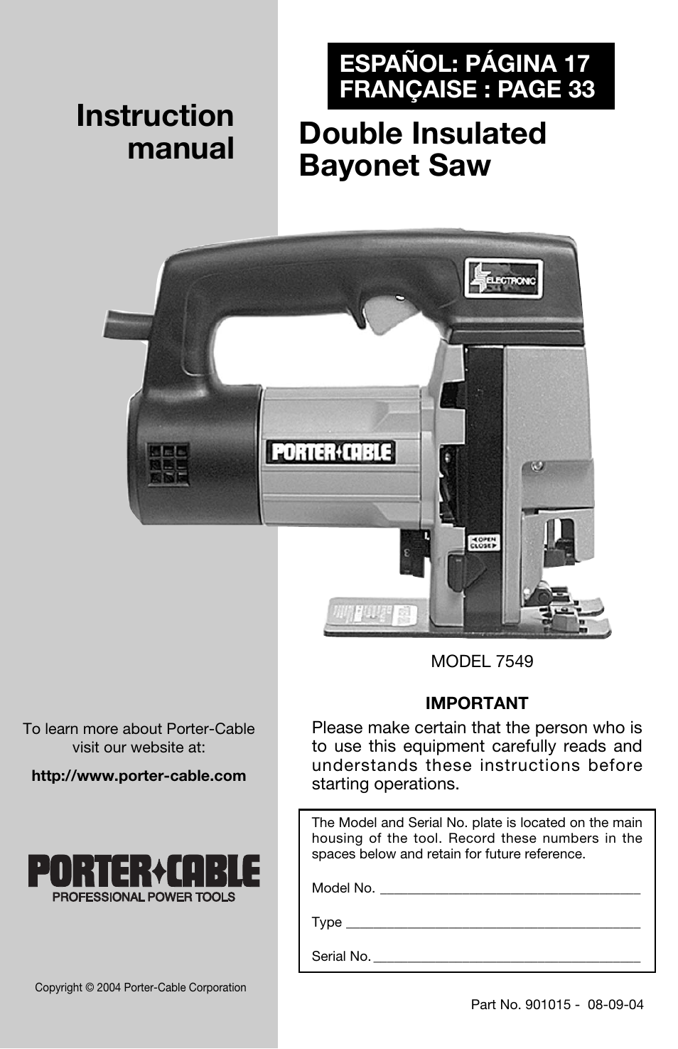 Porter-Cable 7549 User Manual | 17 pages
