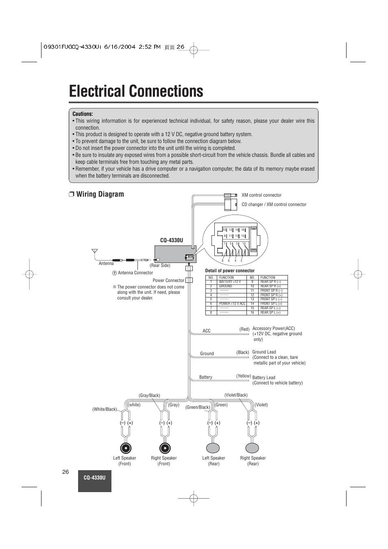 [GJFJ_338]  Electrical connections, Wiring diagram | Panasonic CQ-4330U User Manual |  Page 26 / 30 | Original mode | Wiring Diagram Panasonic |  | Manuals Directory
