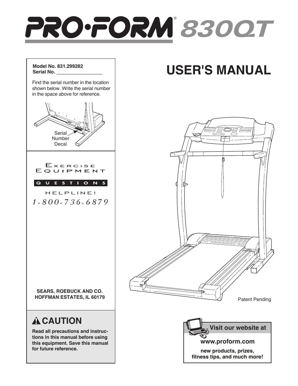 Proform 831. 24813. 0: treadmill user's manual.