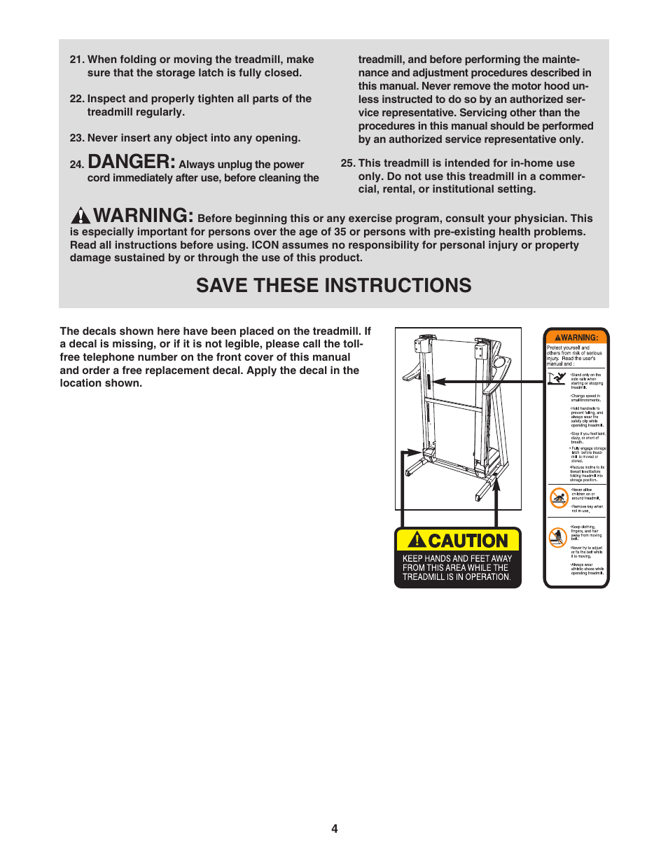 Danger, Warning, Save these instructions | ProForm 6 0 GSX PFTL51105