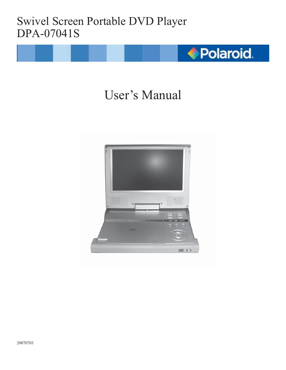polaroid dpa 07041s user manual 34 pages original mode rh manualsdir com Polaroid 7 Portable DVD Player Silver Polaroid 7 Portable DVD Player Silver