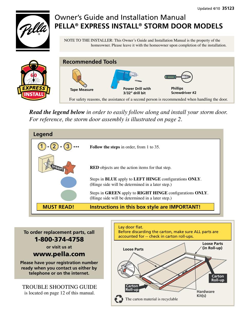 Pella Storm Door Models 35123 User Manual 12 Pages