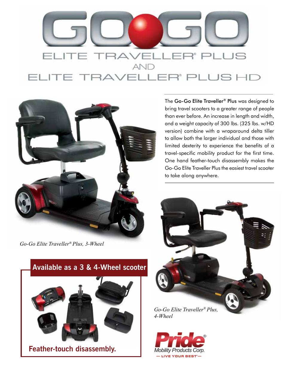 Pride Mobility Go-Go Elite Traveller SC40E User Manual | 2 pages | Also  for: Go-Go Elite Traveller SC44E, Go-Go Elite Traveller SC40LR, Go-Go Elite  ...