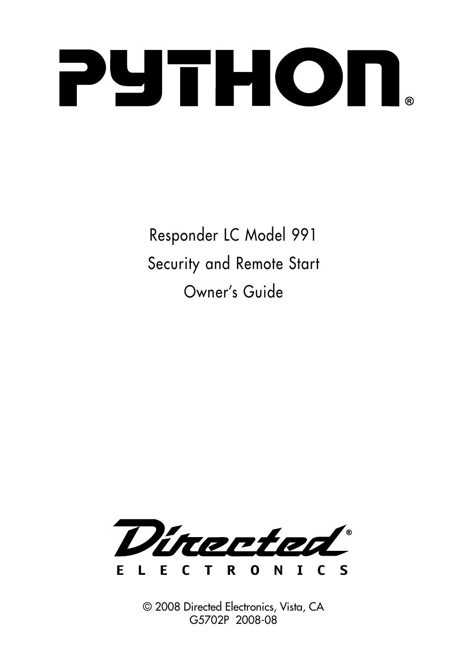 Manualguide Python 991 Installation Guide Wiring Diagram User Manual 60 Pages Rh Manualsdir Com