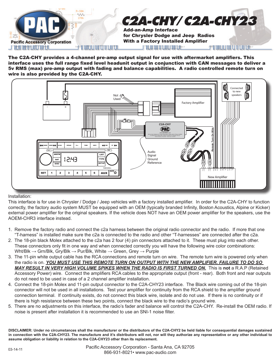 pac c2a chy23 page1 pac c2a chy23 user manual 1 page also for c2a chy pac sni 15 wiring diagram at panicattacktreatment.co