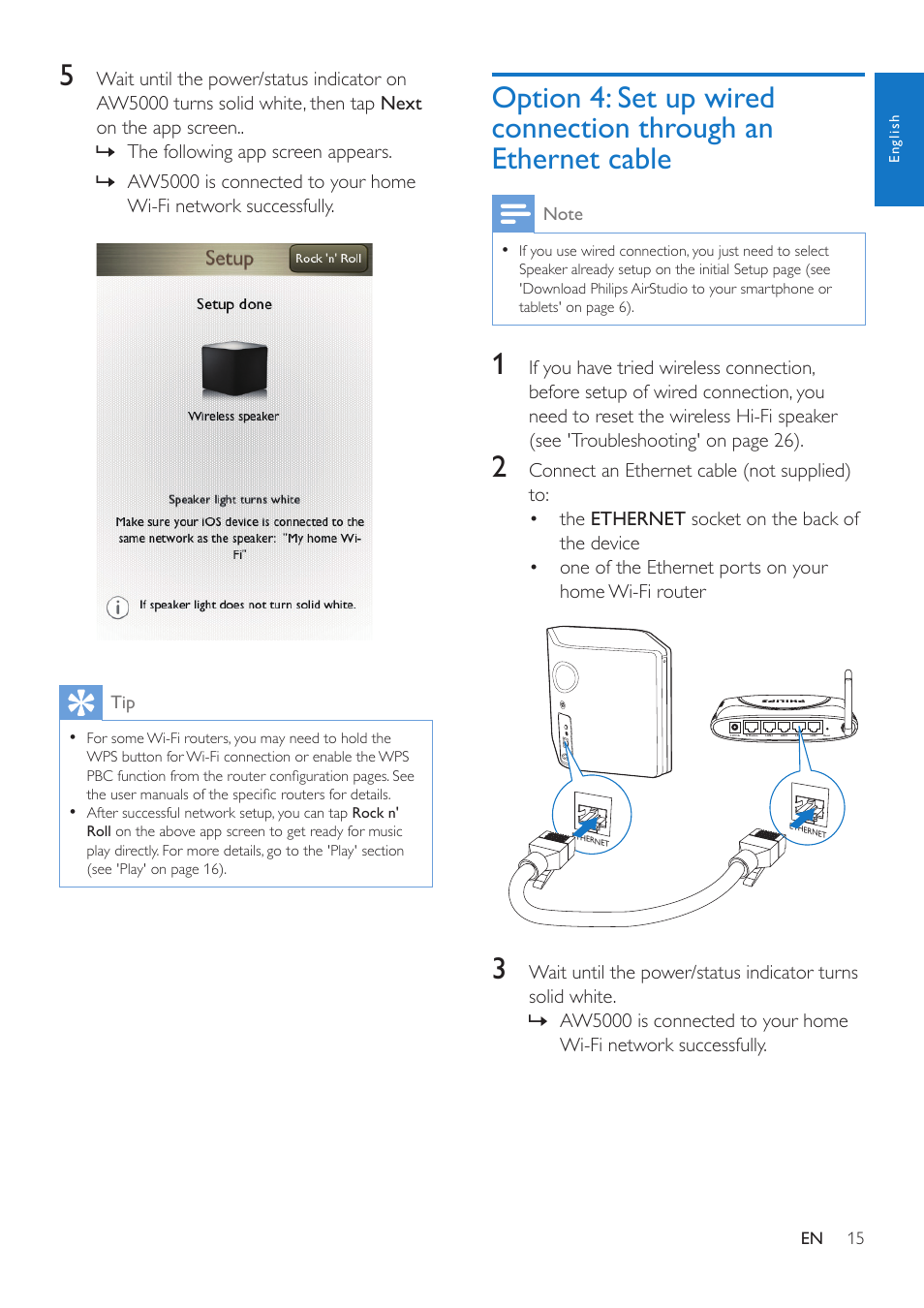 Option 4 Set Up Wired Connection Through An Ethernet Cable Wiring For Your Home Philips Aw5000 User Manual Page 17 32