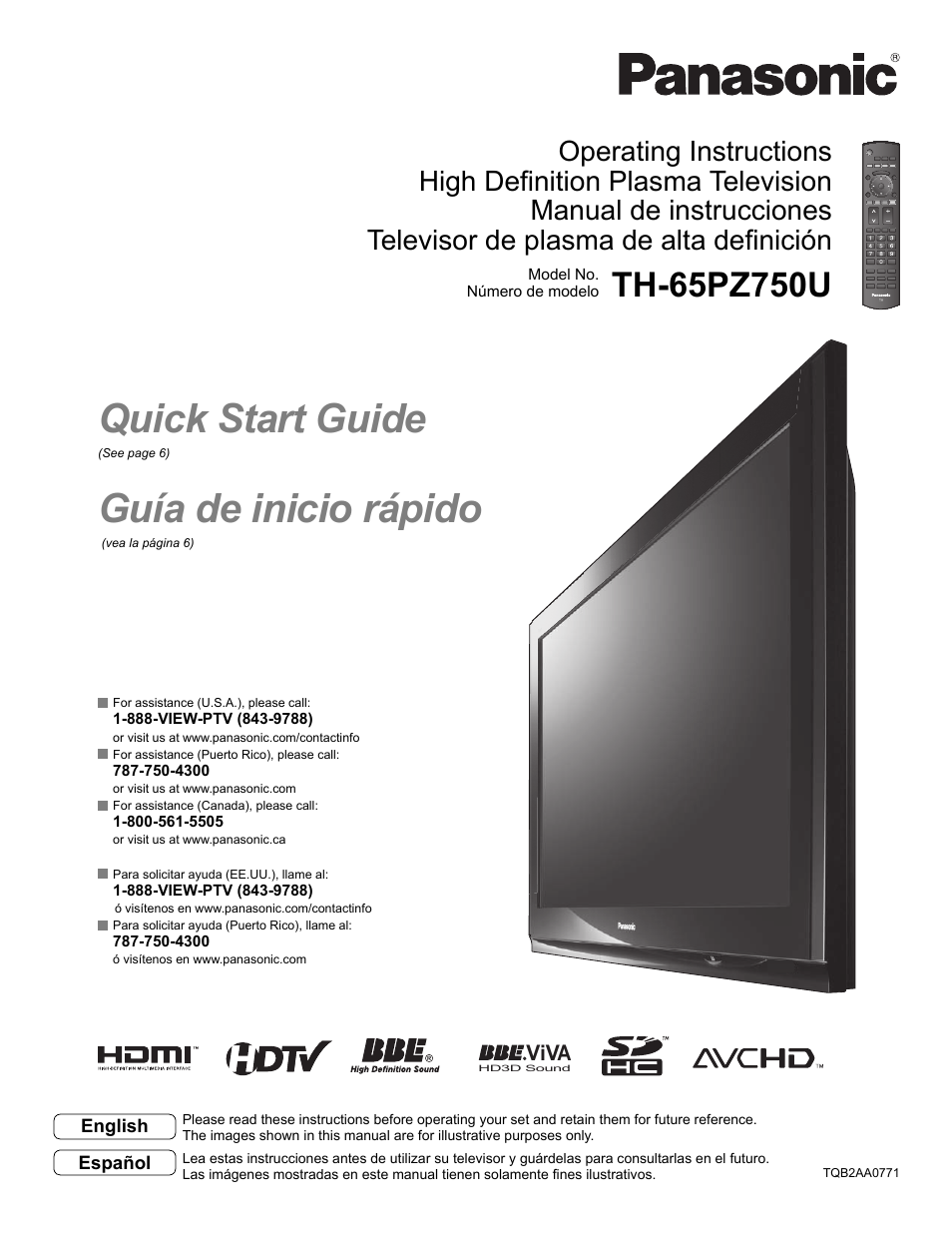 Panasonic VIVA TH-65PZ750U User Manual | 73 pages