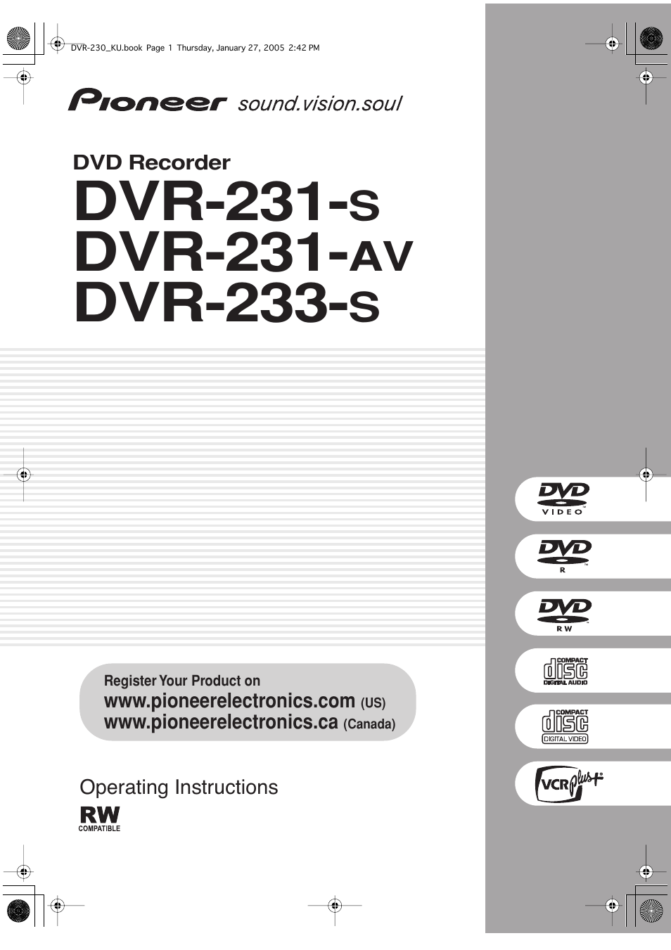 pioneer dvr 233 s user manual 68 pages also for dvr 231 s dvr rh manualsdir com Dish DVR Manual Dish DVR Manual