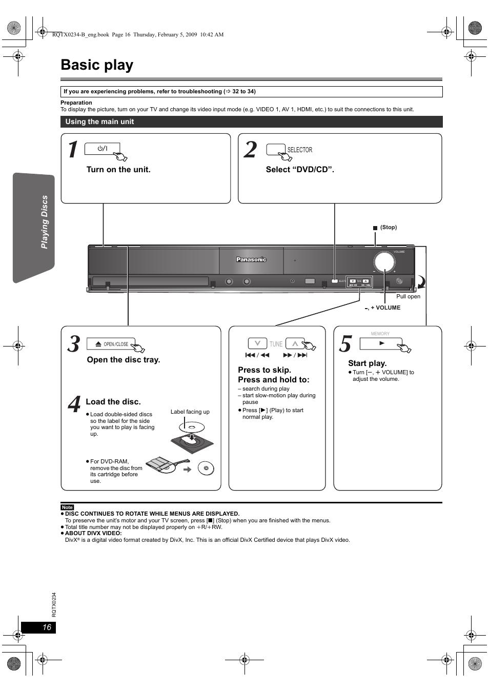 Basic play | Panasonic SC-PT875 User Manual | Page 16 / 40