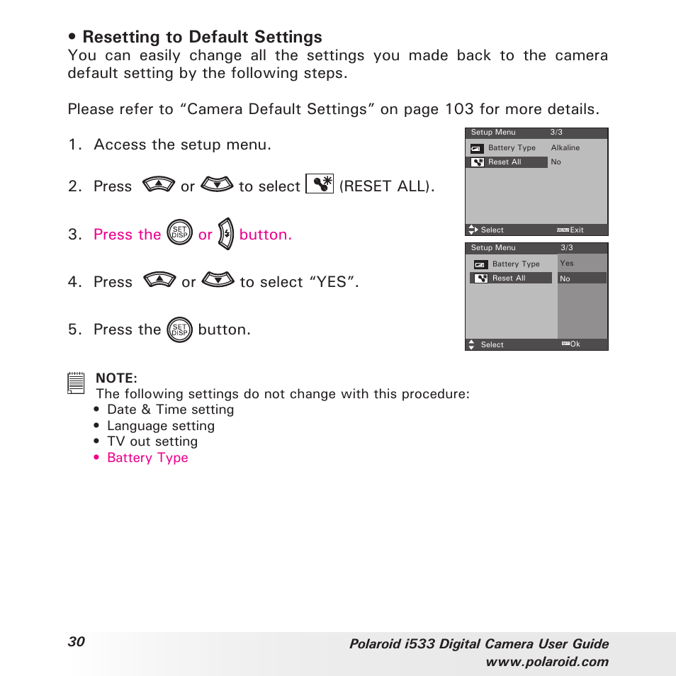 resetting to default settings polaroid i533 user manual page 30 rh manualsdir com Example User Guide User Guide Icon