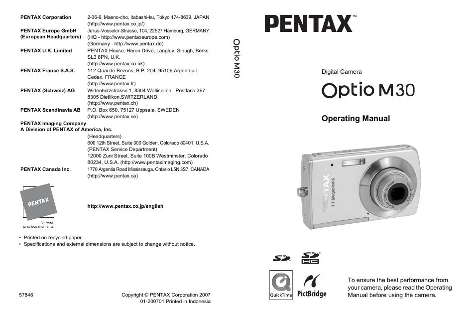 pentax optio m30 user manual 188 pages rh manualsdir com Pentax Film Camera Models Pentax Film Camera Models