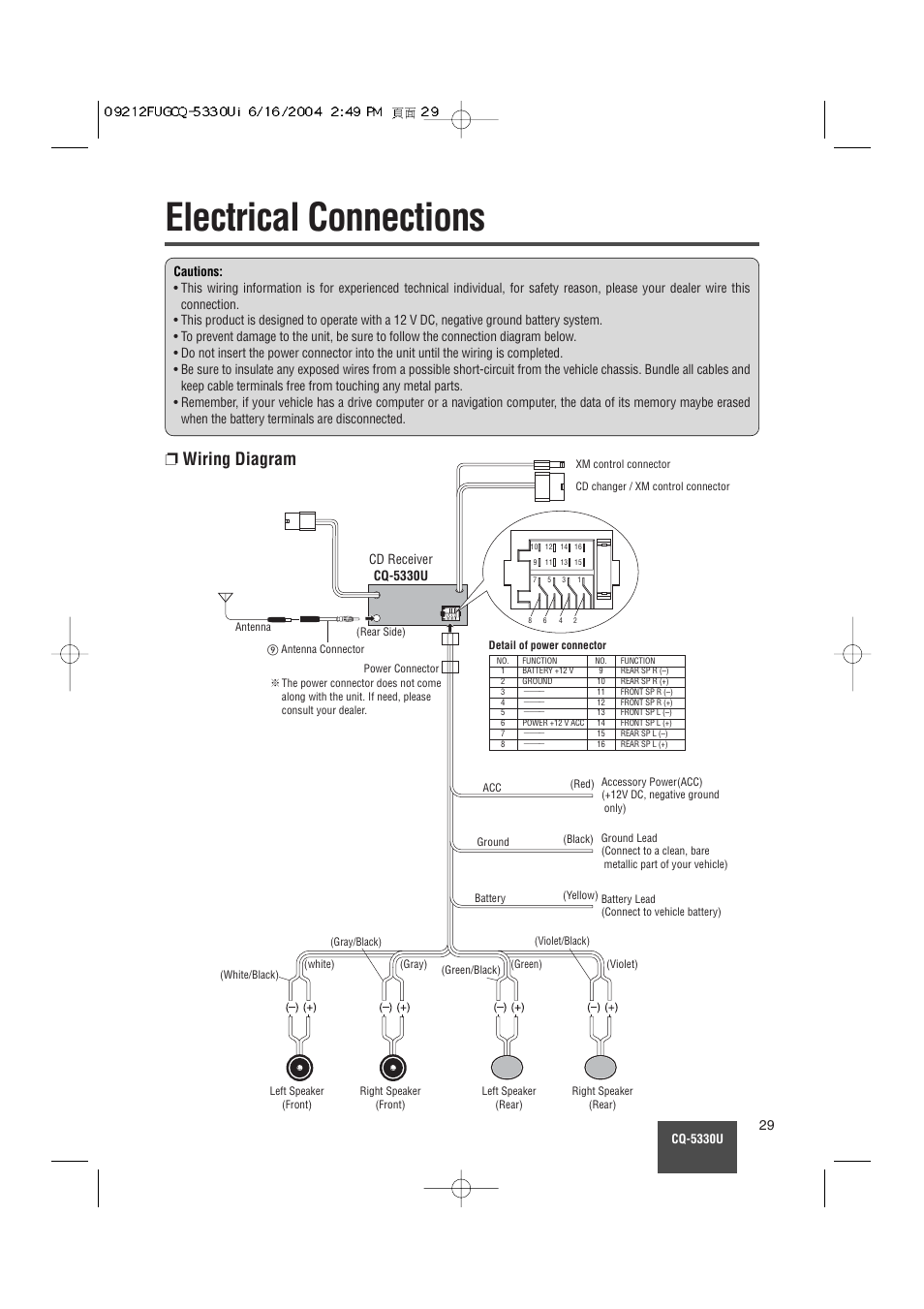Electrical Connections Wiring Diagram Panasonic Cq 5330u User Manual Page 29
