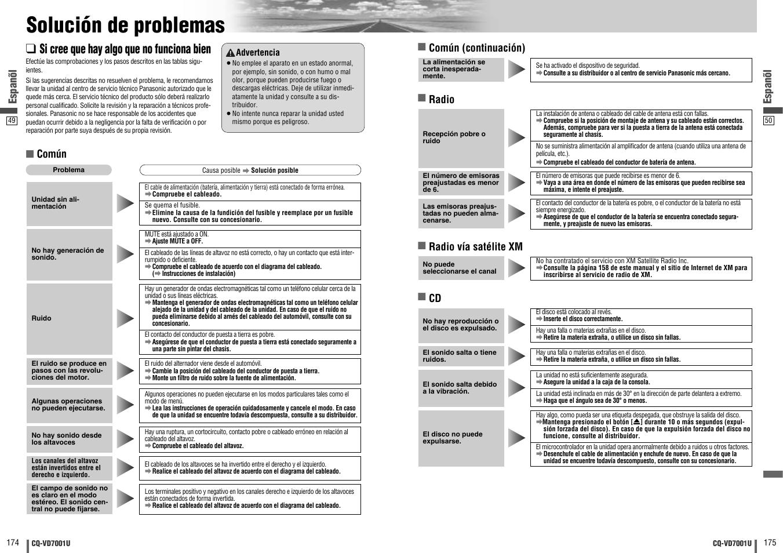 Panasonic Cq Vd7001u Wiring Diagram Page 3 And Vd6503u Home Solucion De Problemas Soluci N Si Cree Que Hay Algo No Funciona