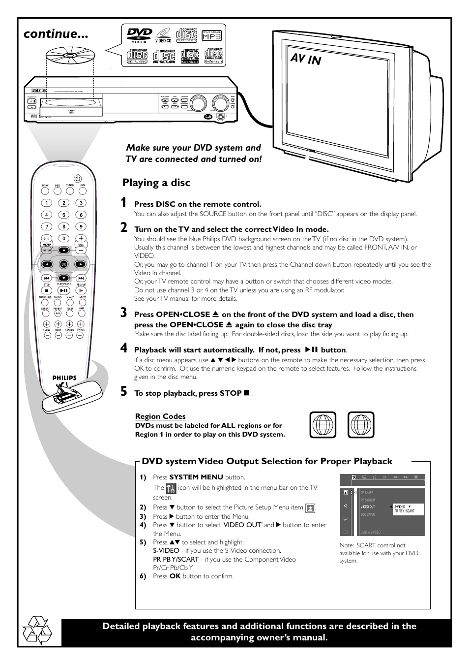 continue av in playing a disc philips mx3660d user manual rh manualsdir com Philips Product Manuals Philips Product Manuals