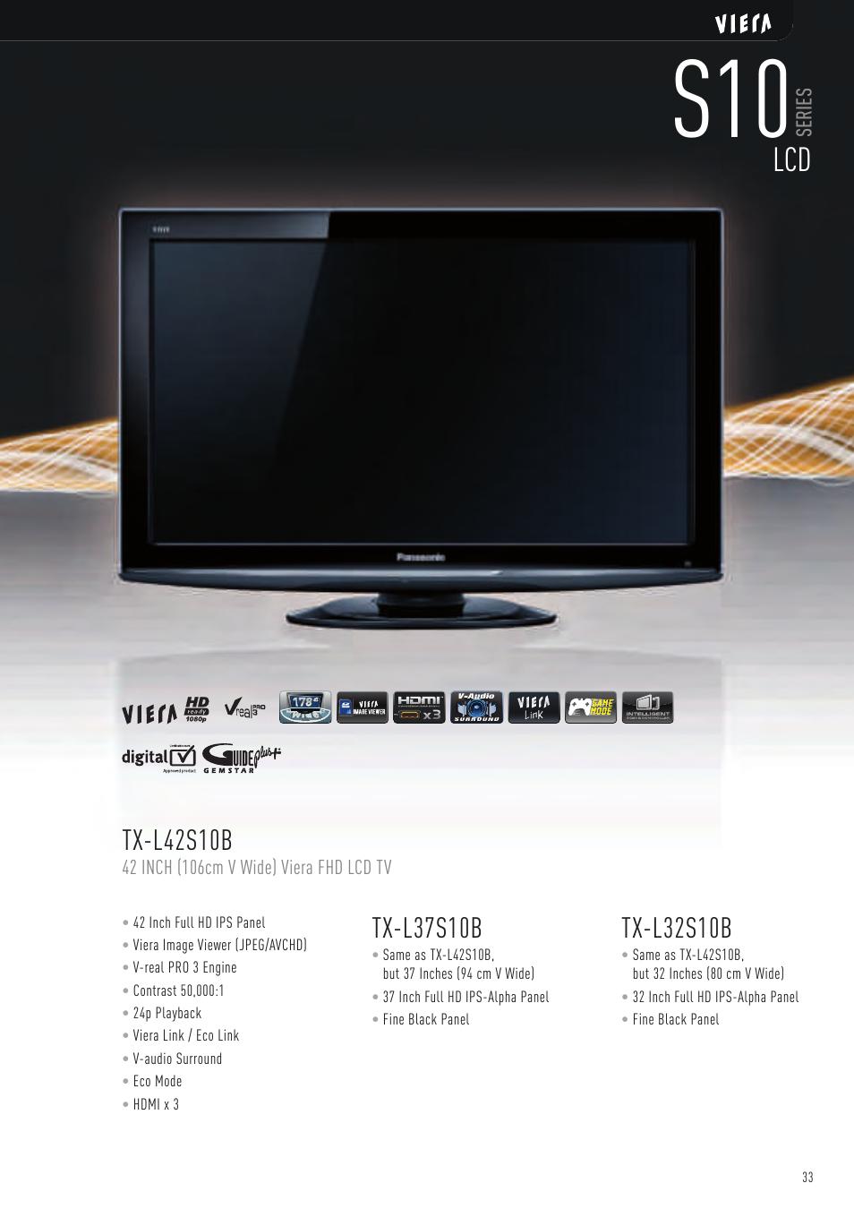 Tx-l37s10b, Tx-l32s10b, Tx-l42s10b | Panasonic VIERA TX-P50G10B User Manual  | Page 35 / 47