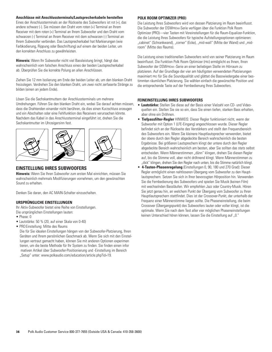 Einstellung ihres subwoofers | Polk Audio DSW PRO 440wi User Manual ...