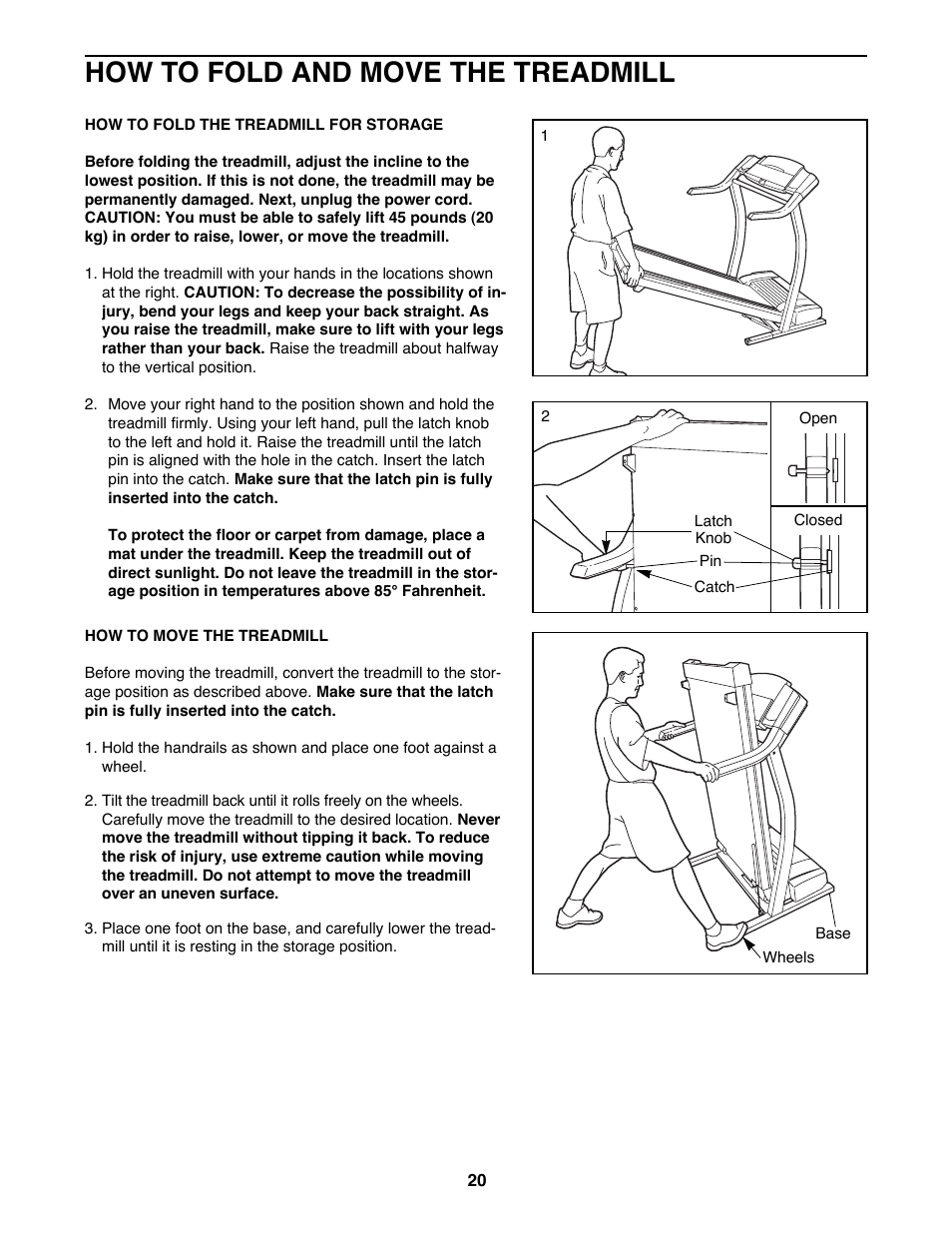 How to fold and move the treadmill | ProForm 745CS 831 299470 User
