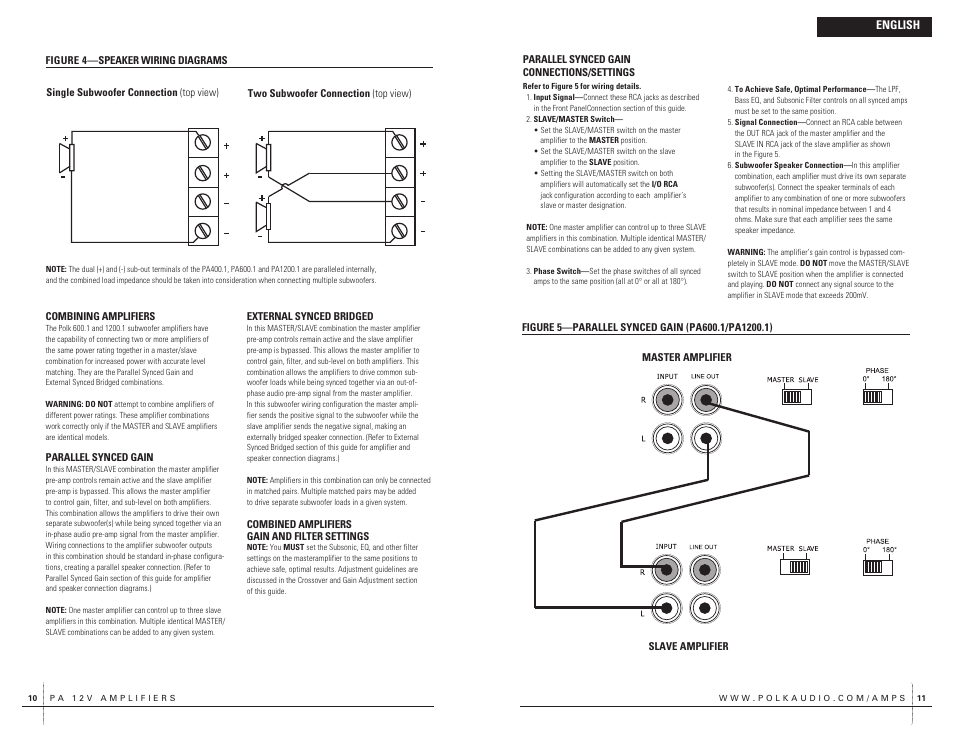 polk audio pa400 1 user manual page 6 39 rh manualsdir com Passive Subwoofer Wiring Diagram Residential Electrical Wiring Diagrams
