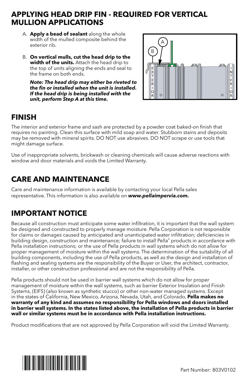 Finish Care And Maintenance Important Notice Pella Impervia