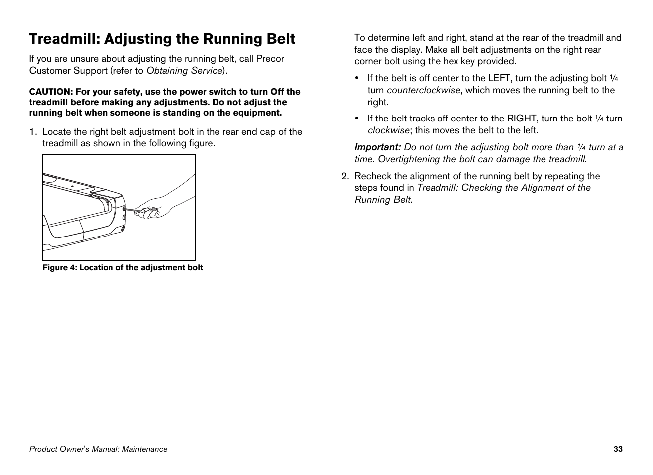 Precor Treadmill Wiring Diagram Adjusting The Running Belt S 932i User Manual Page 35 80
