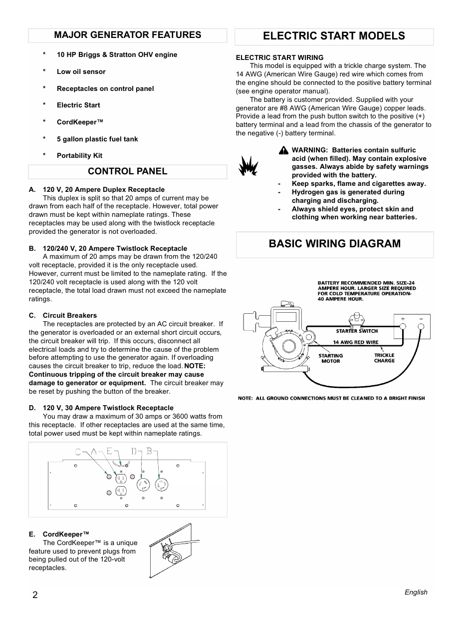 Electric Start Models Basic Wiring Diagram Control Panel Major 24 Hp Briggs And Stratton Generator Features Powermate Pma505622 User Manual Page 2 12
