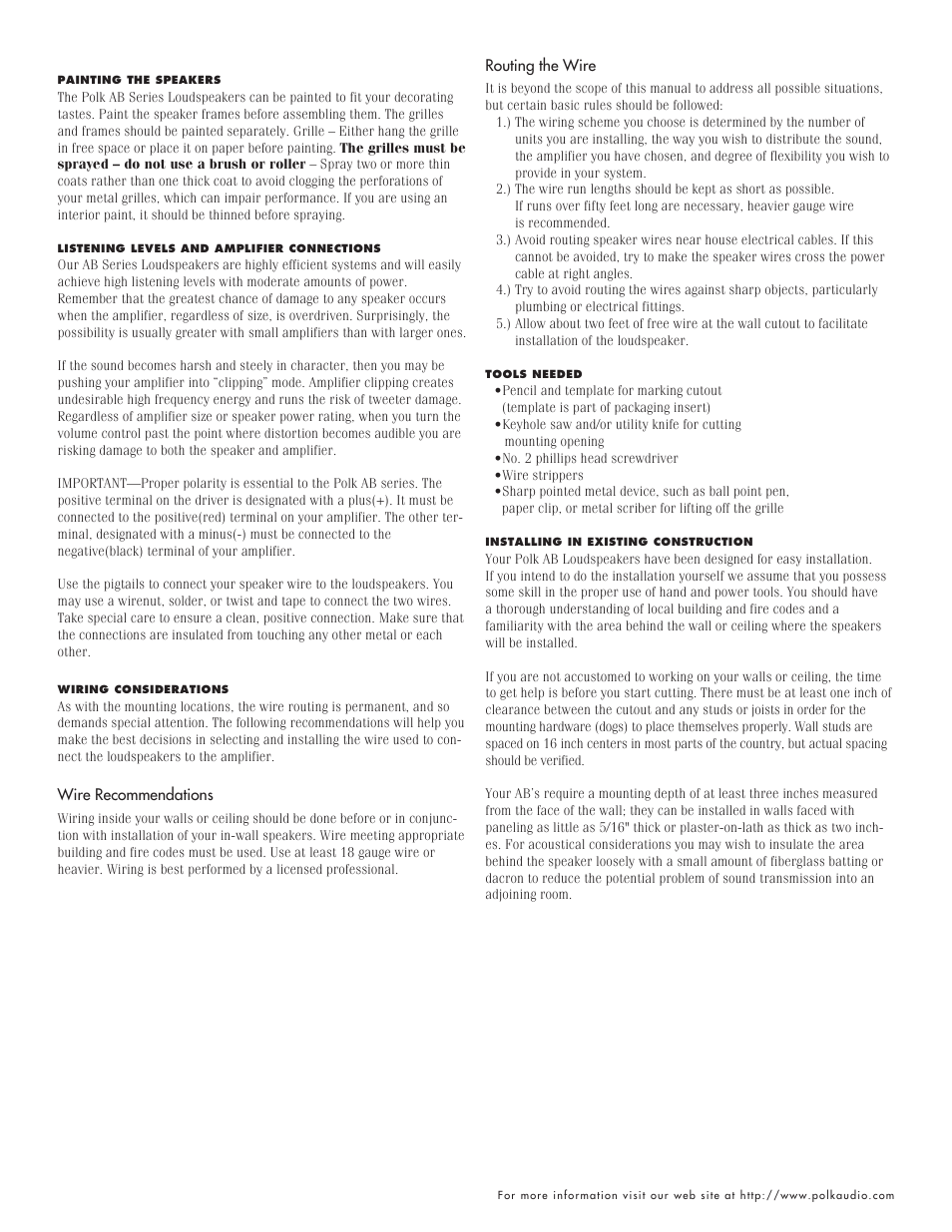 Polk Audio AB710 User Manual | Page 2 / 4 | Also for: AB510