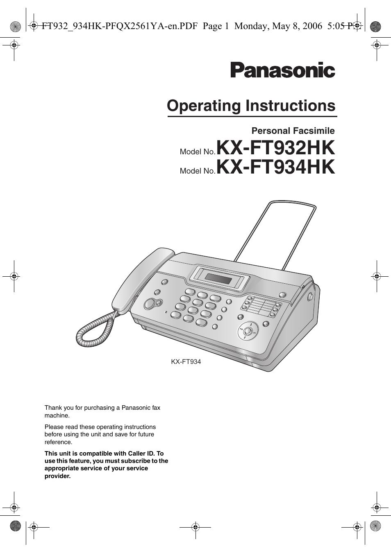 panasonic kx ft934hk user manual 44 pages also for kx ft932hk rh manualsdir com Panasonic Fax Machines Models Panasonic Copier Manuals