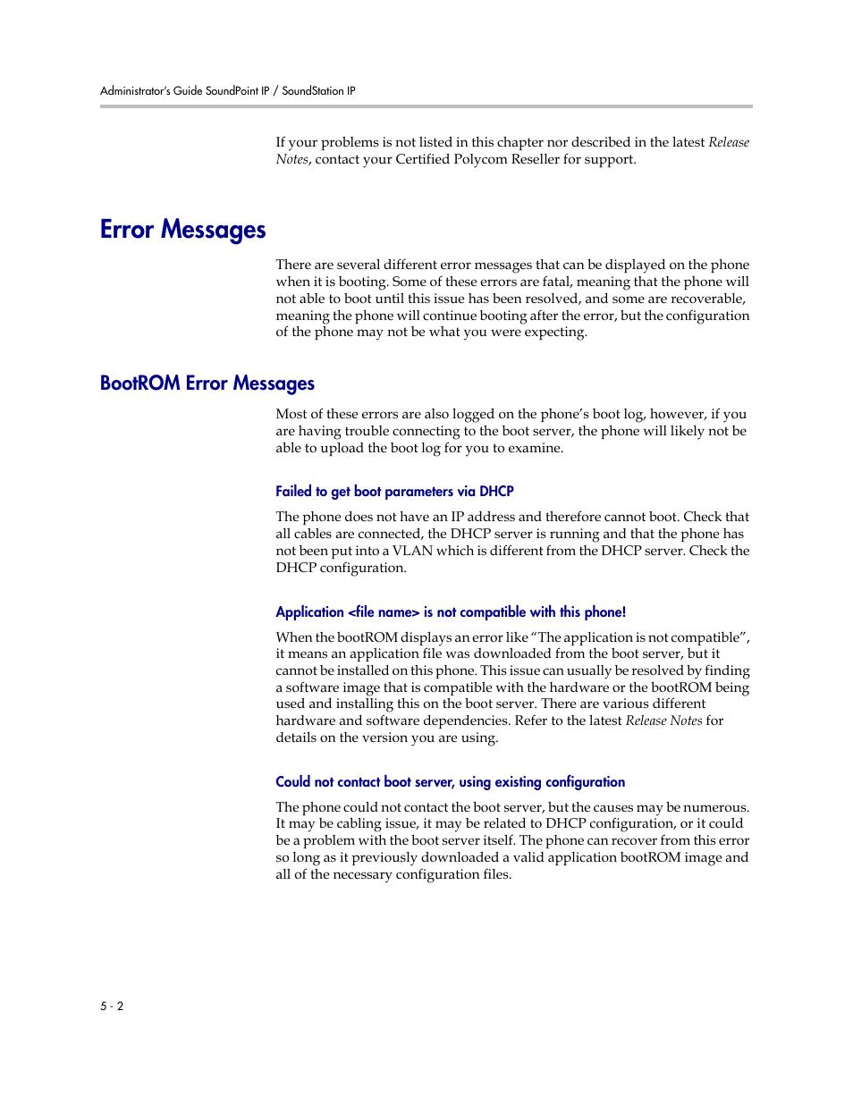 Error messages, Bootrom error messages, Error messages –2 | Polycom