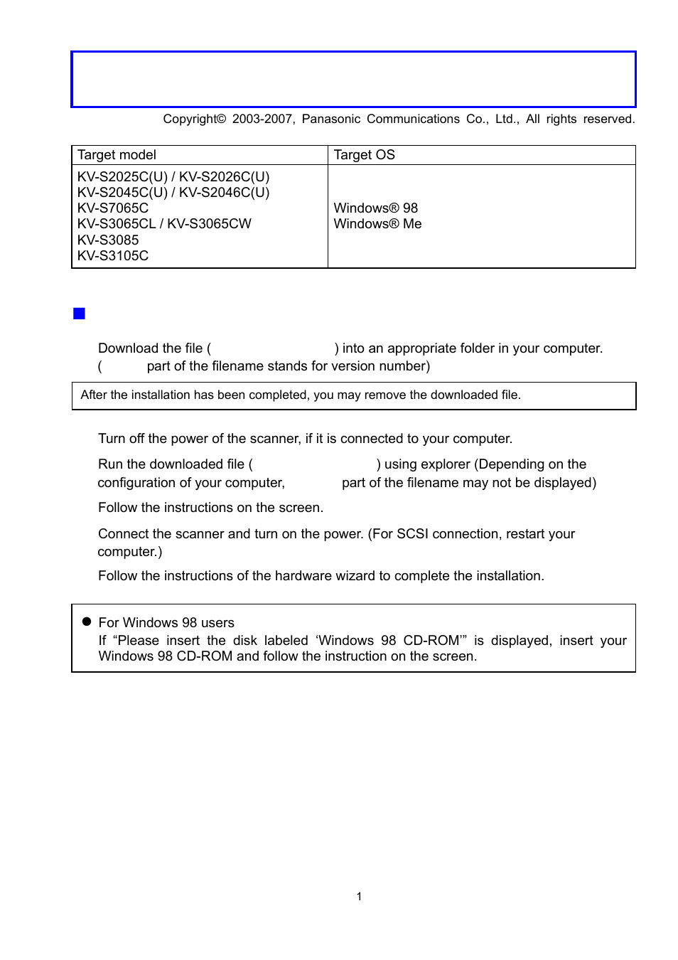 Panasonic KV-S3085 User Manual | 2 pages | Also for: KV