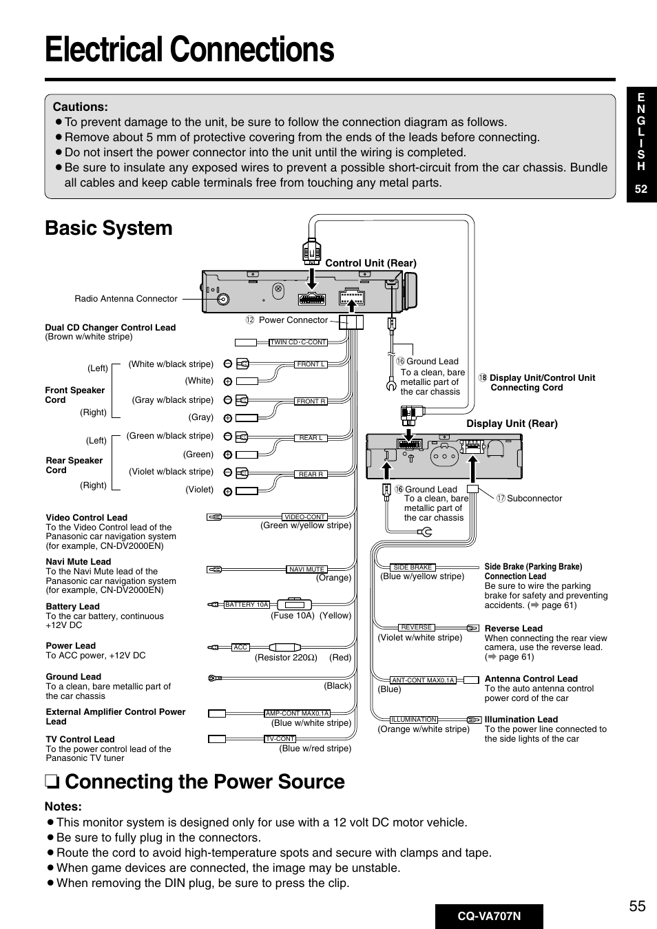 Electrical connections, Basic system ❏ connecting the power source ...