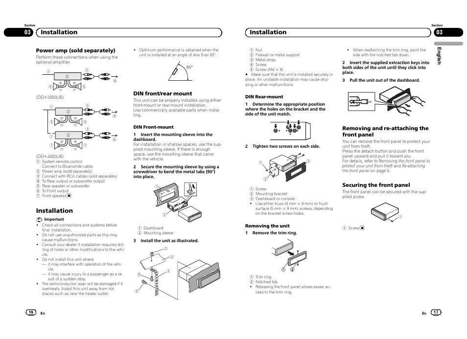 installation 03 installation pioneer deh 4300ub eu user manual rh manualsdir com Pioneer Deh 3300UB Faceplate DEH-3300UB Review