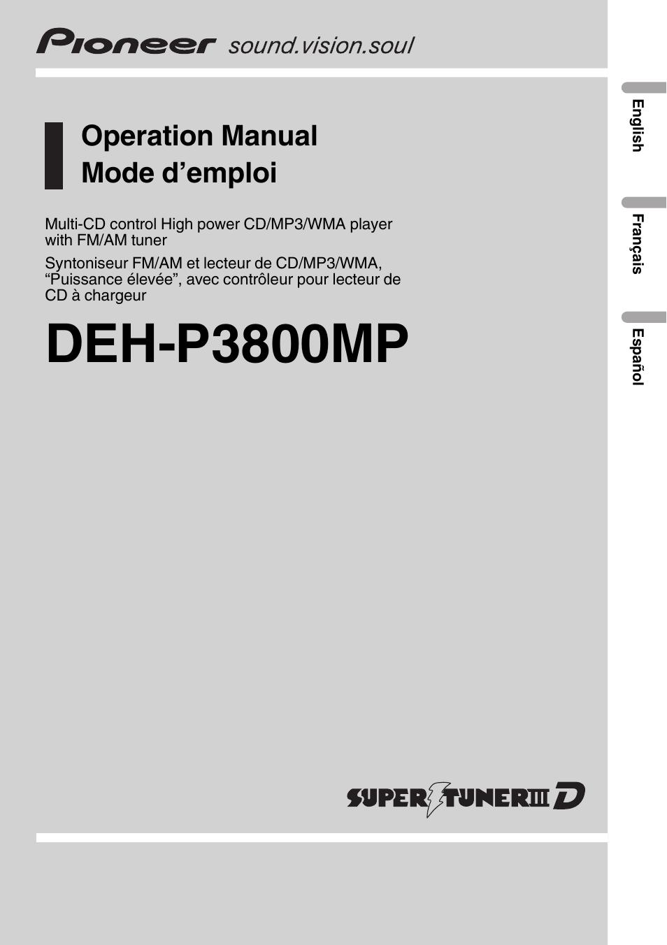 pioneer deh p3800mp user manual 148 pages rh manualsdir com