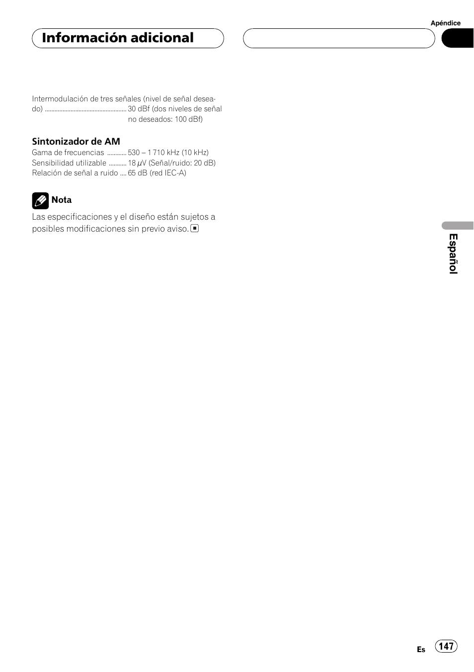 informaci n adicional espa ol pioneer deh p3800mp user manual rh manualsdir com