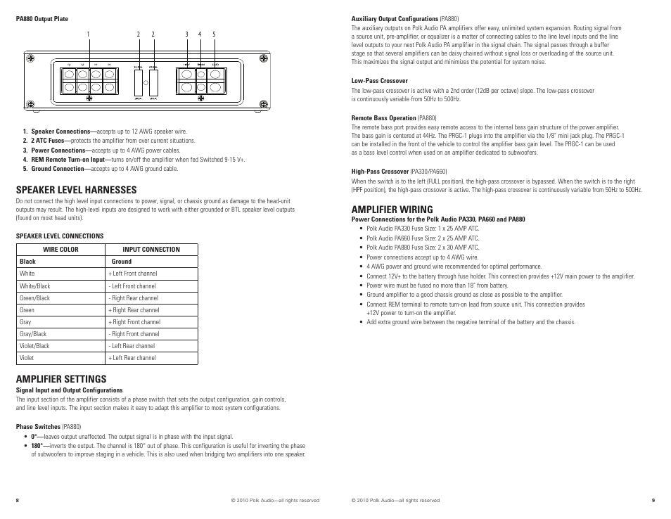 Speaker level harnesses, Amplifier settings, Amplifier wiring | Polk Audio  PA880 User Manual | Page 5 / 29 | Original modeManuals Directory