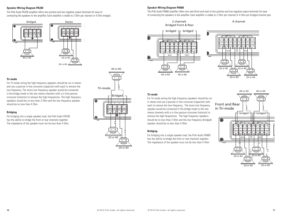 Front and rear in tri-mode | Polk Audio PA880 User Manual | Page 6 / 29Manuals Directory