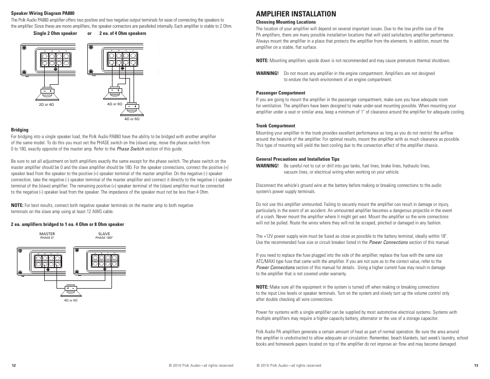 Amplifier installation | Polk Audio PA880 User Manual | Page 7 / 29Manuals Directory